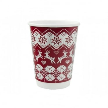 Christmas Jumper Red Disposable Cups 12oz | Case of 500