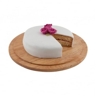 Genware Round Acacia Wood Serving / Cake Board 33cm