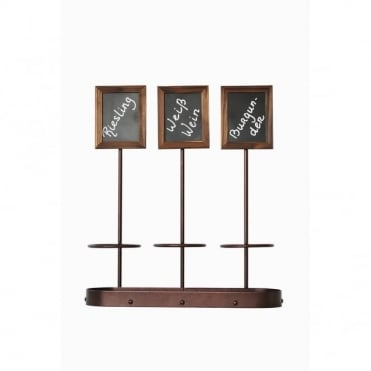 Wine Bottle Holder and Chalk Board Display | 3 Slot