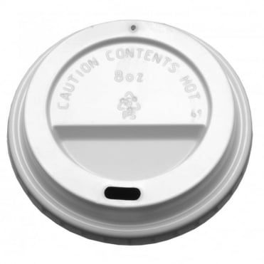 8oz Domed Sip Thru Coffee Cup Lid (White) | Pack of 1000