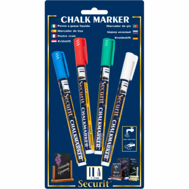Liquid Chalk Markers Pack of 4 | Red, Green, White, Blue