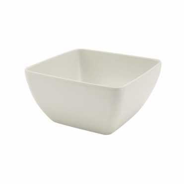 White Melamine Curved Square Bowl 12.5cm