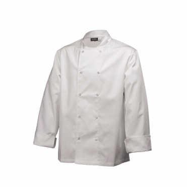 Long Sleeve Press Stud Chef's Jacket - White