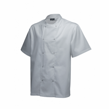 Short Sleeve Press Stud Chef's Jacket - White
