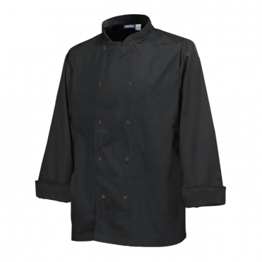 Long Sleeve Press Stud Chef's Jacket - Black
