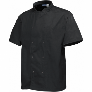 Short Sleeve Press Stud Chef's Jacket - Black