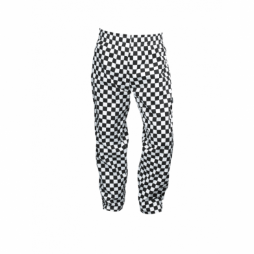 Black and White Checkered Baggie Chef's Trousers