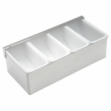 Stainless Steel Garnish Dispenser | 4 Compartment