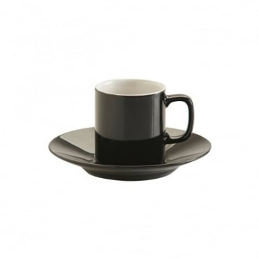 3oz Gloss Black Espresso Cup and Saucer | Pack of 12