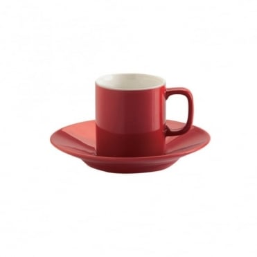 3oz Gloss Brights Red Espresso Cup and Saucer | Pack of 12
