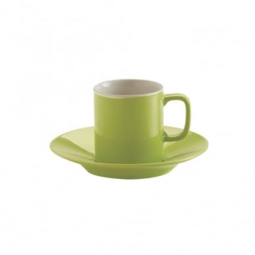 3oz Gloss Brights Green Espresso Cup and Saucer | Pack of 12