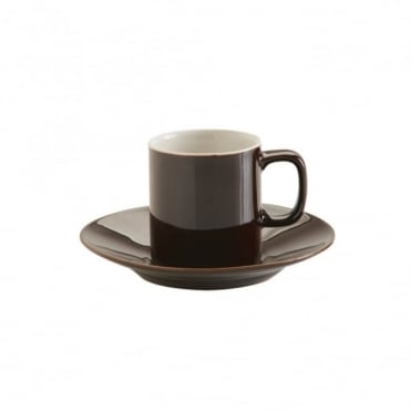 3oz Gloss Brown Rockingham Espresso Cup and Saucer | Pack of 12