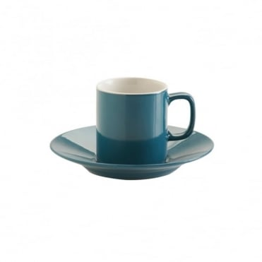 3oz Gloss Teal Blue Espresso Cup and Saucer | Pack of 12