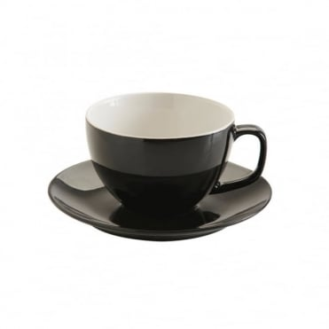 15oz Gloss Black Large Cup and Saucer | Pack of 6