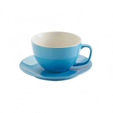 15oz Gloss Brights Blue Large Cup and Saucer | Pack of 6