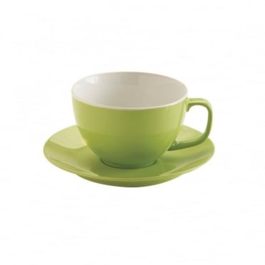 15oz Gloss Brights Green Large Cup and Saucer | Pack of 6