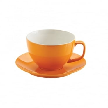 15oz Gloss Brights Orange Large Cup and Saucer | Pack of 6