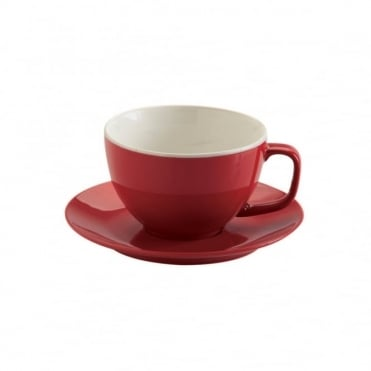 15oz Gloss Brights Red Large Cup and Saucer | Pack of 6