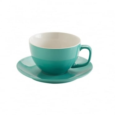 15oz Gloss Jade Green Large Cup and Saucer | Pack of 6