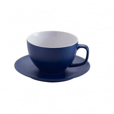 15oz Matt Navy Large Cup and Saucer | Pack of 6