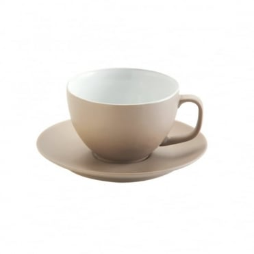 15oz Matt Taupe Large Cup and Saucer | Pack of 6