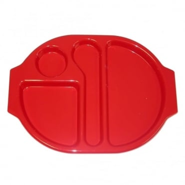 Large Polycarbonate Plastic Meal Tray with 4 Compartments | Red