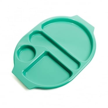 Large Polycarbonate Plastic Meal Tray with 4 Compartments | Emerald Green
