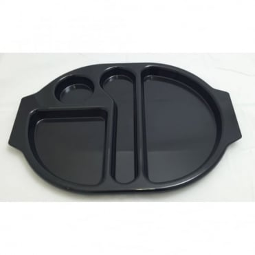 Large Polycarbonate Plastic Meal Tray with 4 Compartments | Black