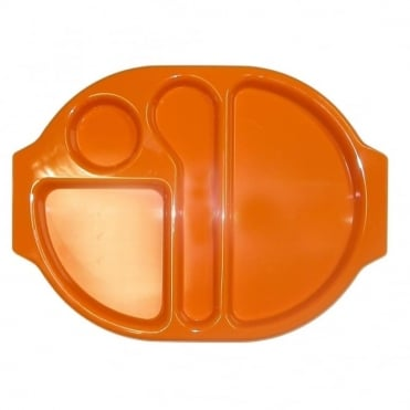 Large Polycarbonate Plastic Meal Tray with 4 Compartments | Orange