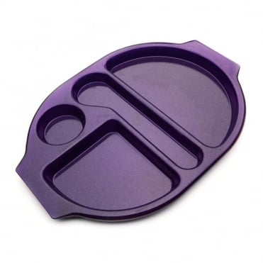 Large Polycarbonate Plastic Meal Tray with 4 Compartments | Purple Sparkle