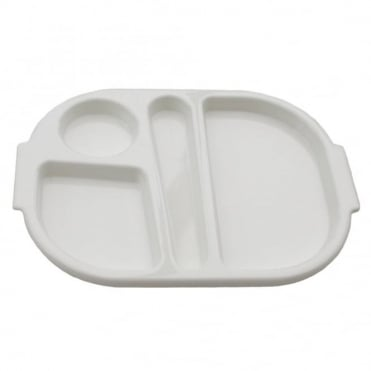 Small Polycarbonate Plastic Meal Tray with 4 Compartments | White