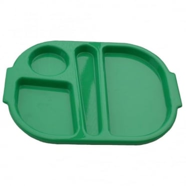 Small Polycarbonate Plastic Meal Tray with 4 Compartments | Emerald Green