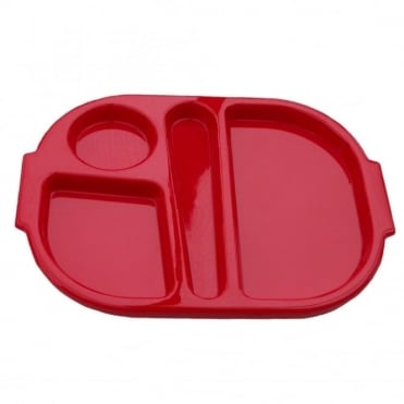 Small Polycarbonate Plastic Meal Tray with 4 Compartments | Red