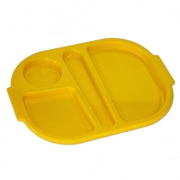 Small Polycarbonate Plastic Meal Tray with 4 Compartments | Yellow