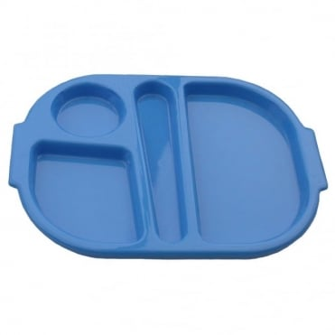 Small Polycarbonate Plastic Meal Tray with 4 Compartments | Medium Blue