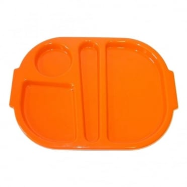 Small Polycarbonate Plastic Meal Tray with 4 Compartments | Orange