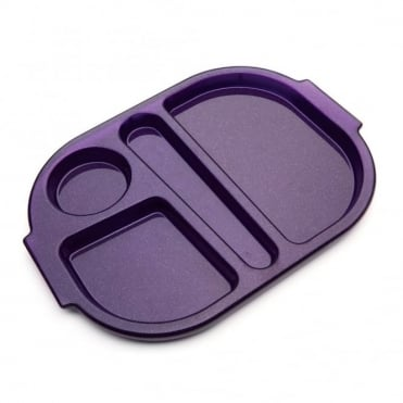 Small Polycarbonate Plastic Meal Tray with 4 Compartments | Purple Sparkle
