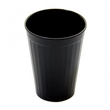 Black Polycarbonate Plastic Fluted Tumbler 200ml
