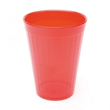 Transparent Red Polycarbonate Plastic Fluted Tumbler 200ml