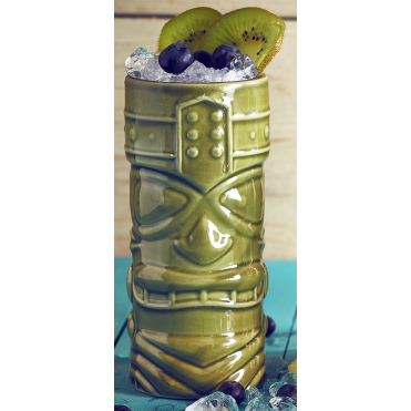 Green Tiki Mug 400ml 14oz | Pack of 4
