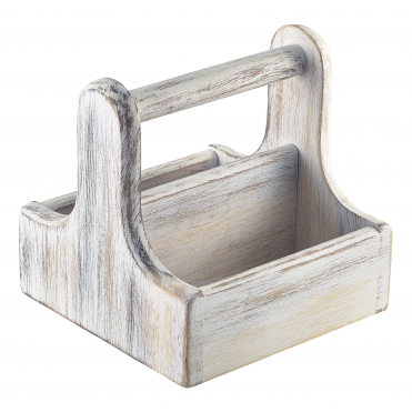 White Wash Small Handled Acacia Wood Table Caddies