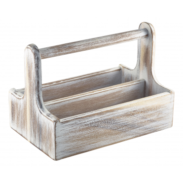 White Wooden Tabble Caddy