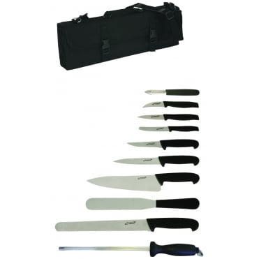 Genware 10 piece Professional Knife Set + case