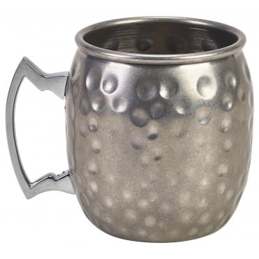 Vintage Stainless Steel Hammered Barrel Mug 400ml 14oz