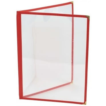 Red American Style A4 Menu Holder - 4 Page