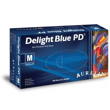 Delight Blue PD Powdered Vinyl Gloves | Box of 100