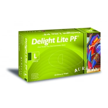 Delight Lite PF Clear Powder-Free Vinyl Examination Gloves | Box of 100