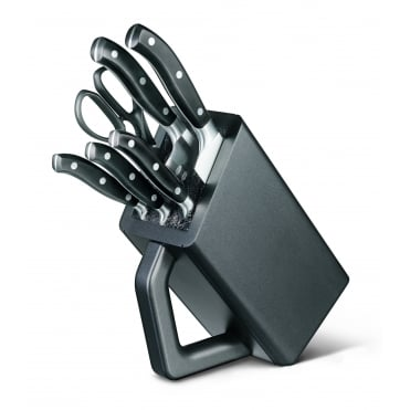 6 Piece Fully Forged Cutlery Block Set | Black/Black