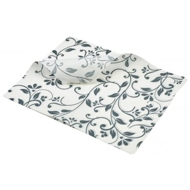 Greaseproof Paper Floral Print - 25 x 20cm - Grey