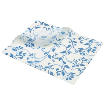 Greaseproof Paper Floral Print - 25 x 20cm - Blue